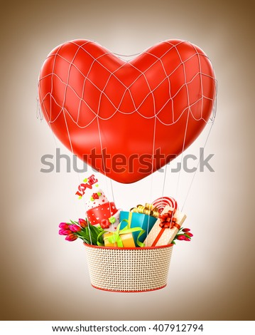 Cute hot air balloon with a basket full of gifts and sweets. Unusual Valentines day illustration. 3D illustration - stock photo