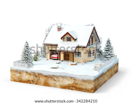 Cute house on a piece of earth with snowed garden and trees in winter.  - stock photo