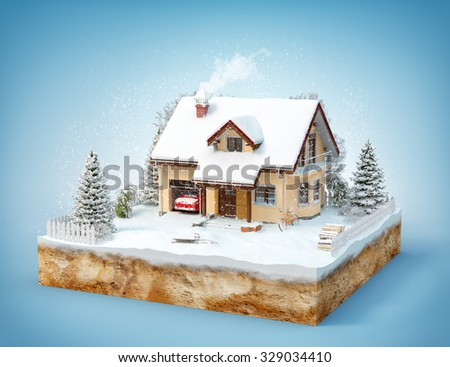Cute house on a piece of earth with snowed garden and trees in winter. Isolated - stock photo