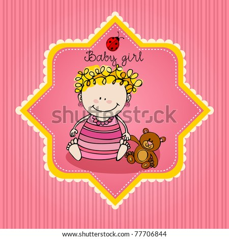 cute illustrated doodle Baby arrival card - stock photo