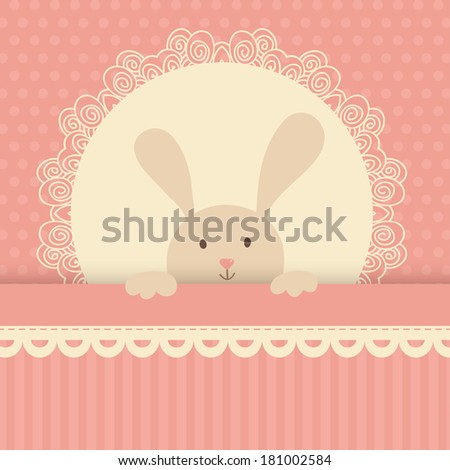 Cute illustration. Little toy rabbit, white lace, pink background with polka dot. - stock photo