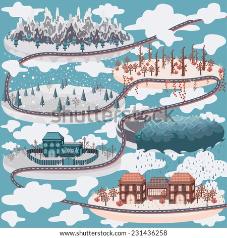 Cute illustration of map with houses, mountains, landscapes, forests - stock photo