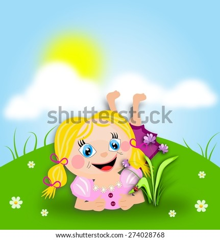 Cute illustration of small girl laying down on grass and watching flower with ladybug