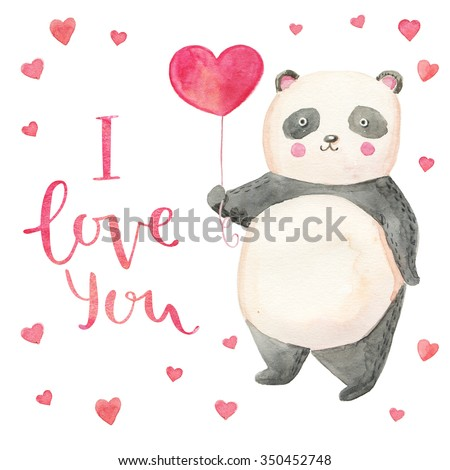 Cute illustration panda with hearts card for valentine's day. Hand drawn lettering I love you - stock photo