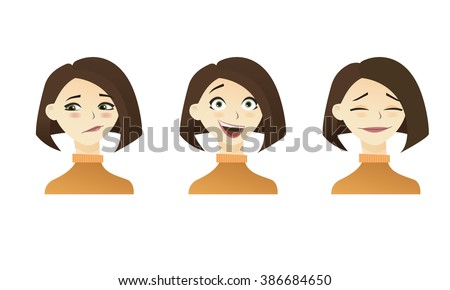 Cute  illustrations set of beautiful young brunette shot hair girl with various emotion. - stock photo
