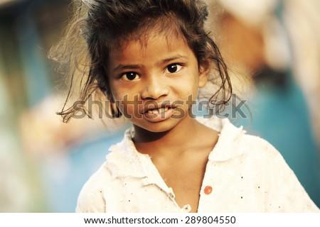Cute Indian little girl. - stock photo