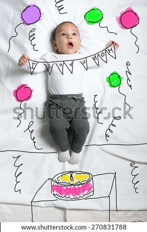 Cute infant baby boy in birthday party sketch - stock photo