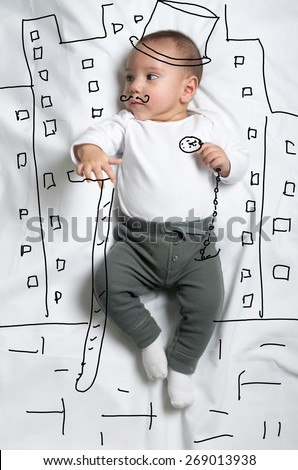 Cute infant baby boy posing like a gentleman sketch - stock photo