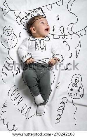 Cute infant baby boy sketch like a russian dancer - stock photo
