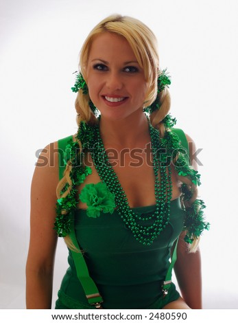 Cute Irish Lassie Ready for St. Patty's Day - stock photo