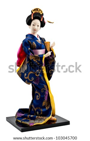 Cute japanese geisha doll isolated on white