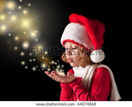 cute joyful girl with santa-clothes - stock photo
