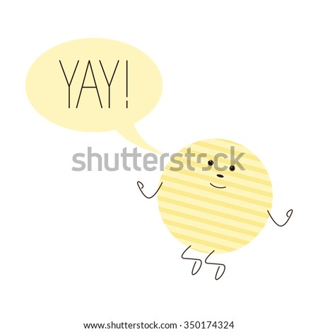 Cute jumping chips character with speech bubble with lettering yay with exclamation mark isolated on white background - stock photo
