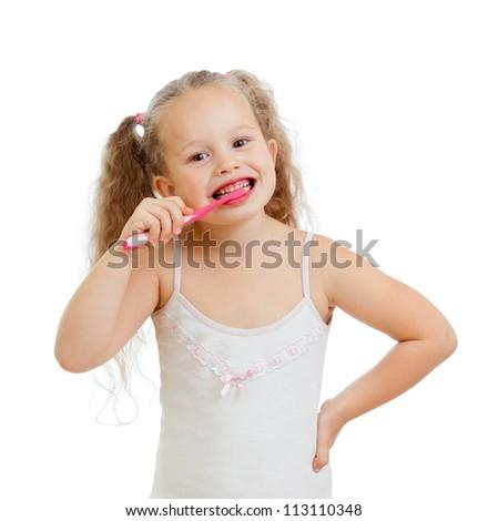 cute kid girl brushing teeth isolated on white background - stock photo