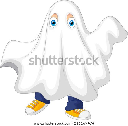 Cute kid in a ghost costume celebrating Halloween - stock photo