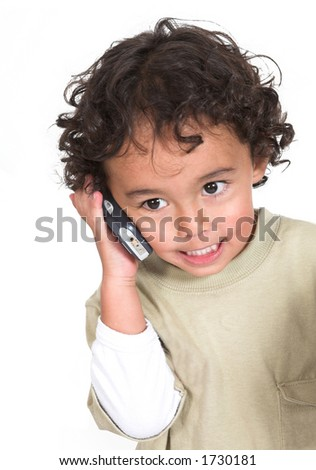 cute kid talking on the phone over white background - stock photo