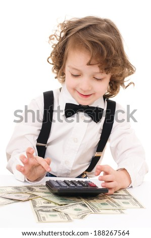 Cute kid with dollars, isolated over white - stock photo