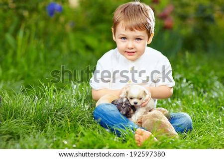 cute kid with small puppies sitting on the grass - stock photo