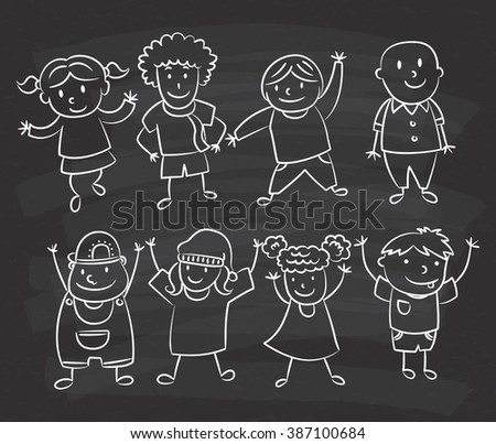 cute kids doodle on chalkboard background - stock photo
