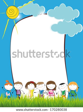 Cute kids frame with happy boys and girls - stock photo