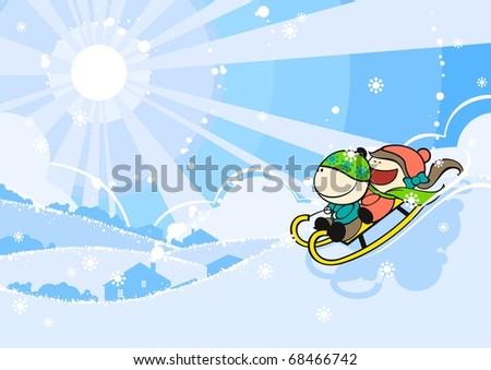Cute kids sledding (raster version) - stock photo