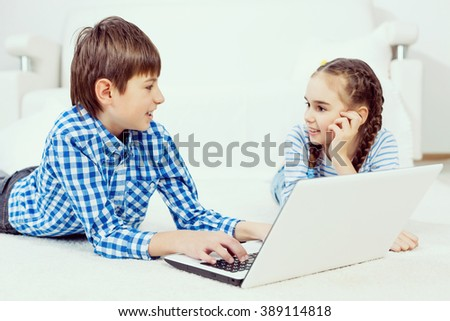 Cute kids using devices
