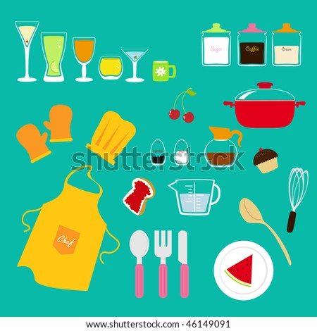 cute kitchen collection - stock photo