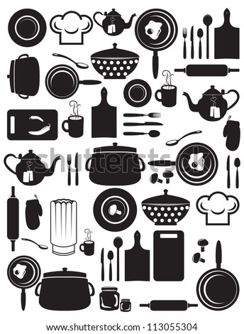 cute kitchen pattern - stock photo