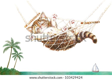 Cute kitten in hammock relaxing at the beach with palm trees - stock photo
