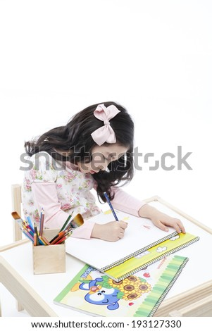 Cute Korean girl drawing