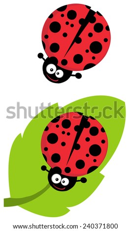 Cute Lady Bug Cartoon Character. Raster Collection Set - stock photo