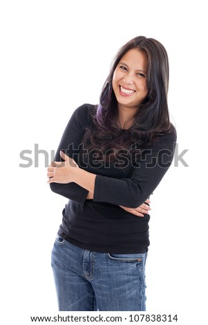 Cute late 30s Vietnamese woman with arms folded isolated on white - stock photo