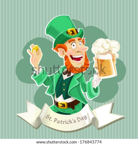 Cute Leprechaun with a beer - Poster - stock photo