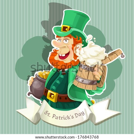 Cute Leprechaun with beer and pot of gold celebrating St Patrick's Day - Poster - stock photo