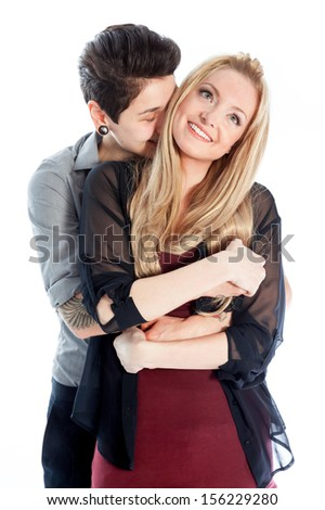 Cute Lesbian couple 30 years old shot in studio isolated on a white background