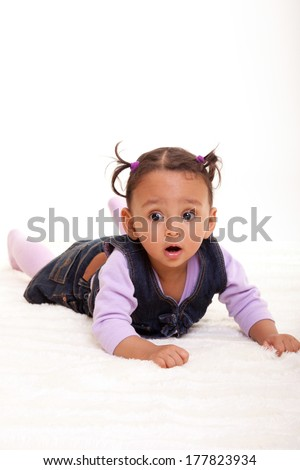 Cute little african american baby girl- Black people, isolated on white background - stock photo