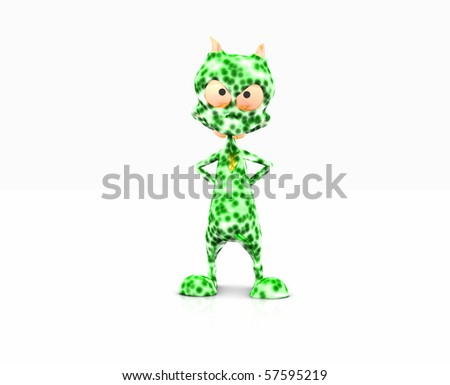 Cute little alien isolated on white