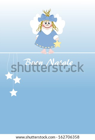Cute little angel italian text: Merry Christmas - stock photo