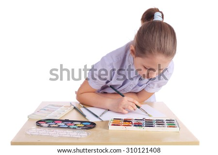 cute little artist girl closeup - stock photo