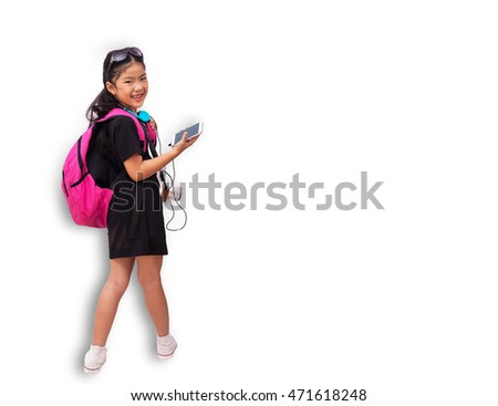 Cute little asian girl holding bag Travel ,school or Shopping  concept