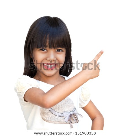 Cute little asian girl with index finger up, Isolated over white with clipping path - stock photo