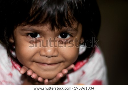 cute little asian girl with smiling face - stock photo