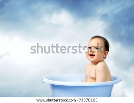 cute little baby bathed in a bath - stock photo