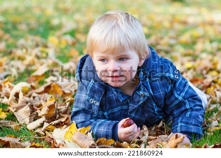 Cute little baby boy having fun with autumn foliage and chestnuts and lying on the ground in colorful clothes in fall park - stock photo