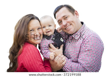 Cute Little Baby Boy Having Fun With Mother and Father Isolated on a White Background. - stock photo