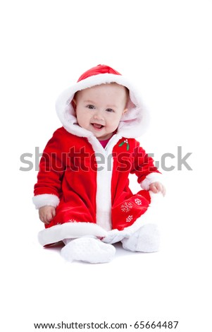 Cute little baby girl with santa suit