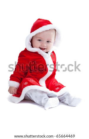 Cute little baby girl with santa suit on white background