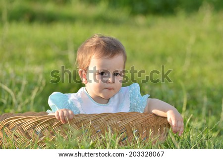 Cute little baby in basket playing outdoor .