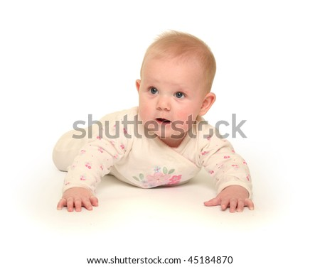 cute little baby on white