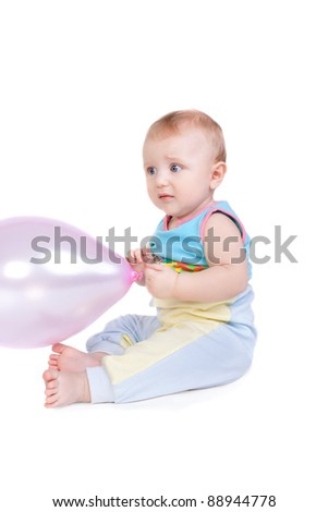 cute little baby with the balloon